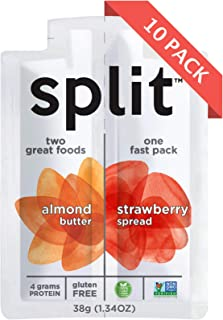 Split Nutrition Almond Butter and Strawberry Squeeze Packs, Gluten-free, Non-GMO, Plant-Based, Energy Fast Snack, Pack of 10 (1.34 ounce each)