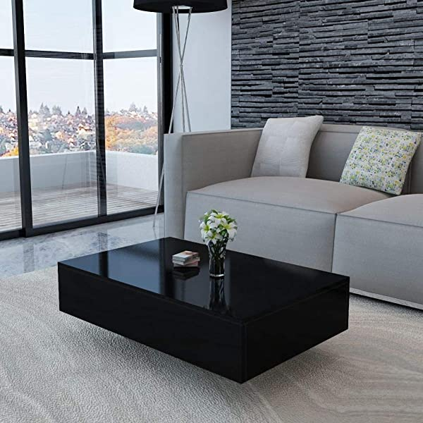 Tidyard Coffee Table High Gloss Side Table Living Room Home Furniture Black 33 5 X 21 7 X 12 2 L X W X H