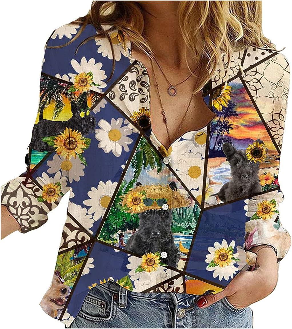 Scottish Outlet sale feature Terrier Cotton Linen Shirt Dog Flower Daisy Long 2021 model Womens