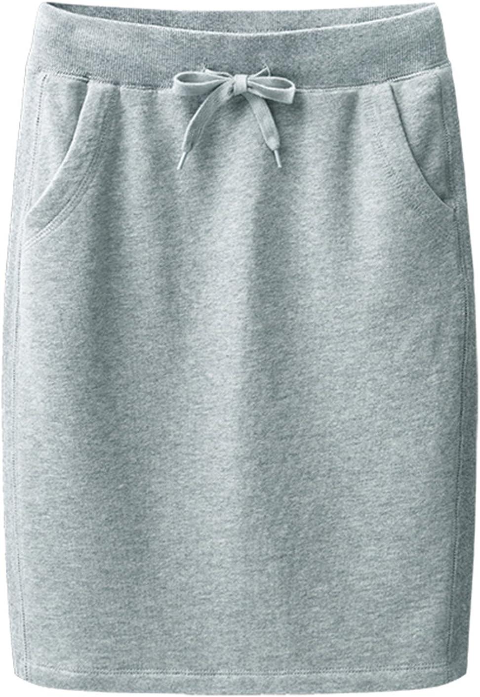 Trendy XU Women Cotton Elastic Waist H-line Skirt Drawstring Waistband Slim Fit Skirts