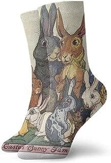 BEDKKJY, Calcetines con Cuello Redondo Conejito de Pascua con la Familia Unisex Unisex Calcetines Deportivos Decoración Calcetín para niños