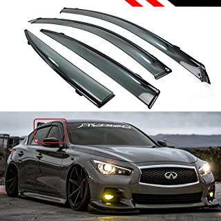 Cuztom Tuning Fits for 2014-2019 Infiniti Q50 VIP JDM Clip-on Type Smoke Tinted Window Visor with Black Trim