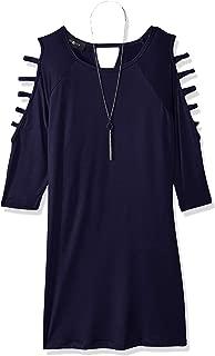 Amy Byer Girls' Big line Lattice Sleeve Knit Dress