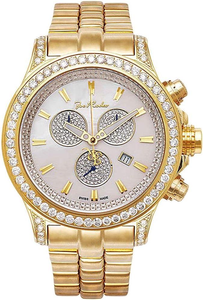 joe rodeo master pilot orologio cronografo per uomo cassa in acciaio placcato oro giallo con diamanti jmp20