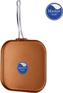 AMERICOOK 11 Inch Copper Pan, Induction Griddle Pan, Non-Stick Ceramic and Aluminium Cooking Pan Compatible with Gas, Ceramic, Glass, Induction Hob with Non-Slip, Stay-Cool Stainless steel Handle