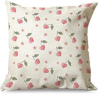Gamoii Fundas de cojín decorativas de lino en forma de corazón, cereza, con cremallera, para salón, color blanco, 45 x 45 cm