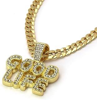 "14k Gold Plated Cz GOOD LIFE Hip Hop Pendant 6mm 30"" Cuban Chain Necklace"
