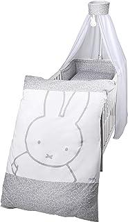 """roba Kinder-Bettgarnitur 4-tlg, Babybettausstattung """"miffy"""", Kinderbettset, Bettwäsche 100x135 cm Decke & Kissen, Nestchen, Himmel"""