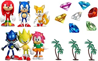 Classic Sonic and Friends 15 Piece Figure Play Set Featuring Sonic Figures, Themed Palm Trees and Sonic Themed Gems