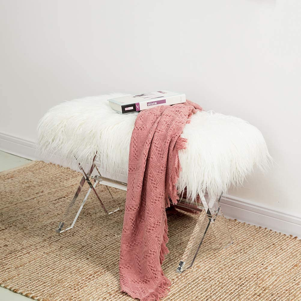 Glitzhome Luxurious Faux Fur Regular store Ottoman Acrylic Legs Long Dealing full price reduction Entr with