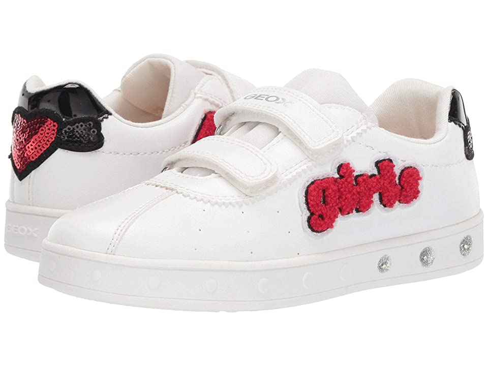 Geox Kids Skylin Girl 1 (Little Kid/Big Kid) (White/Red) Girl