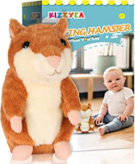 KIZZYEA Bigger Talking Hamster - Repeats What You Say - Interactive Stuffed Plush Animal Talking Toy - Fun Gift for 2,3 Year Old Girls, Baby, Kids, Toddlers