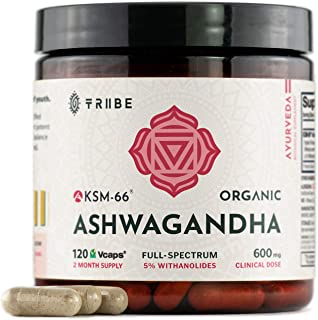 Full-Spectrum KSM-66 Ashwagandha 5% Withanolides - Pure Organic Root Extract - NO Additives - 90 Vcaps - Boost Immunity St...