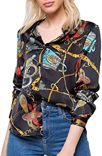 SADUORHAPPY Womens Long Sleeve Chains Print T-Shirt Ladies Casual V Neck Shirt Tops Blouse Tee