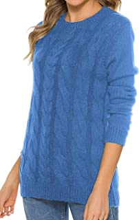 Locryz Women's Crew Neck Cable Knitted Jumper Sweater Long Sleeve Pullover Tops
