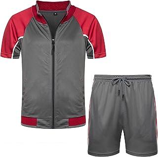 Men's Athletic Running Tracksuit Set Short Sleeve Full Zip Jogging Sweat Suits