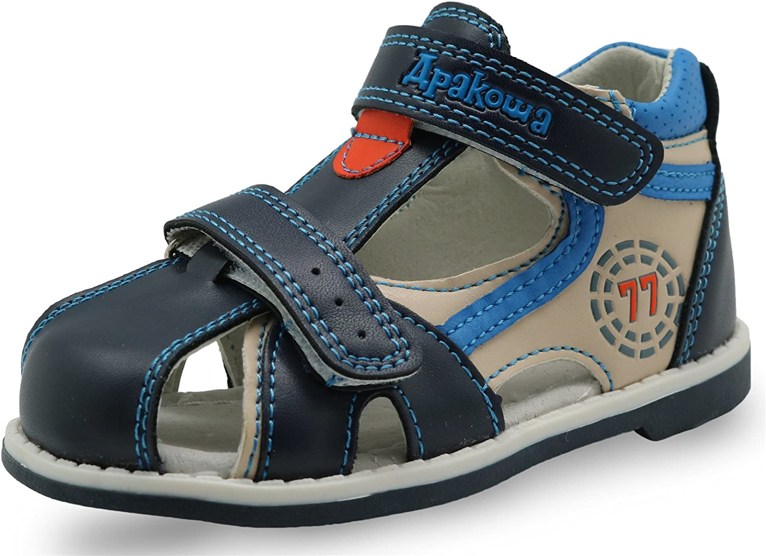 Apakowa Boy's and Selling and selling Girl's Double Spasm price Closed-Toe Strap Adjustable Sand