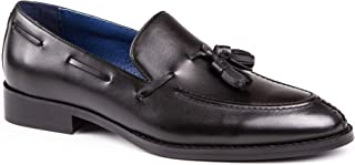 Men's Otid Black Leather Apron Split Toe Tassel Loafers Slip On Boat Shoes
