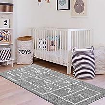 LIVEBOX Kids Play Mat,Hopscotch Area Rug Runner 2' x 5' Soft Plush Playroom Carpet Non-Slip Childrens Numbers Educational ...