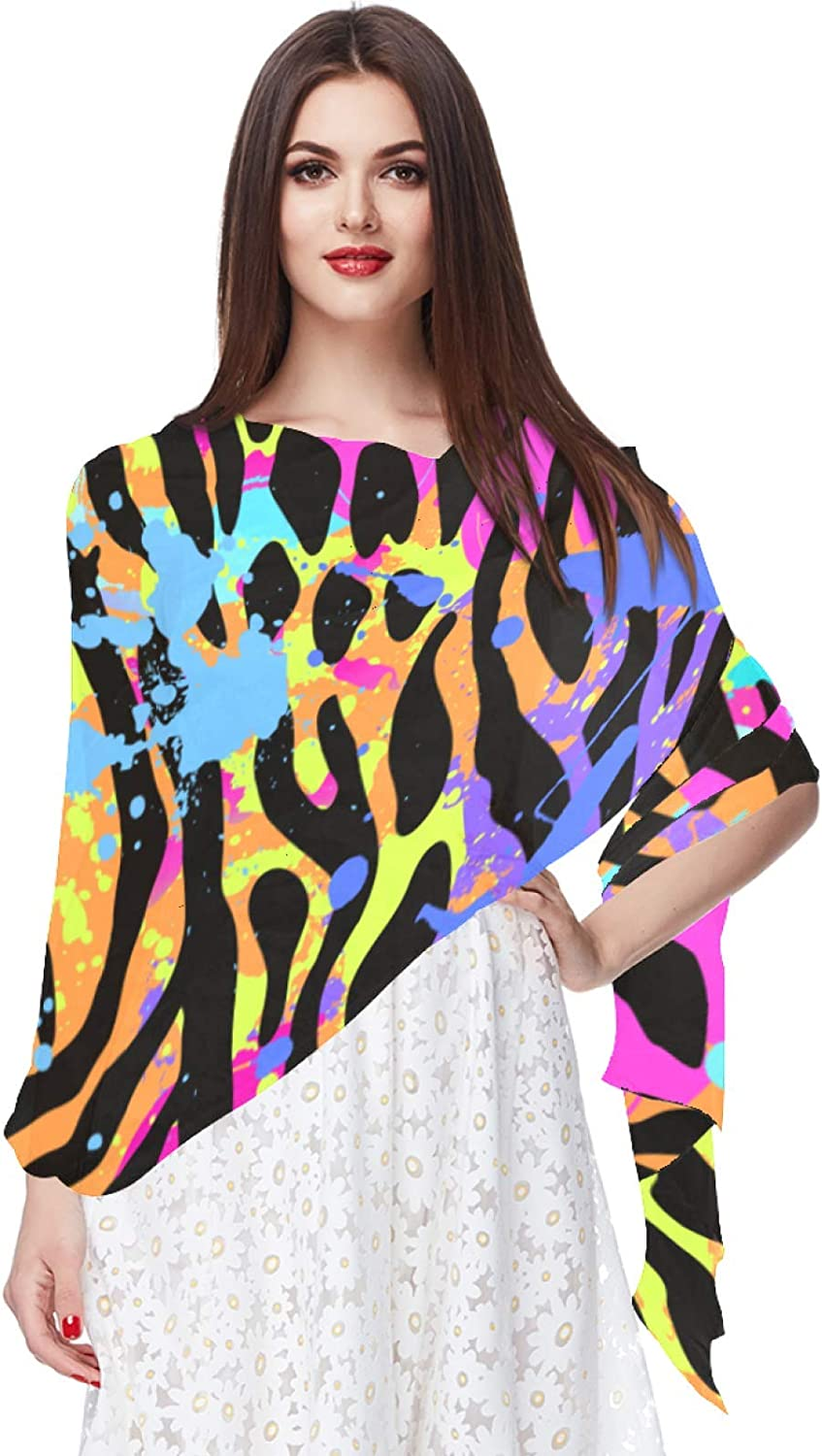Women's Chiffon Scarf Lightweight Fashion Sheer Scarfs Shawl Wrap Scarves,Colorful Abstract Animal Leapoard Pattern