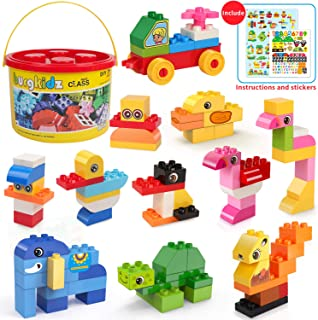 Large Building Blocks, 135 Pieces Kids Toddler Educational Toy Classic Big Size Bricks Building Blocks, 20 Fun Shapes with Reusable Storage Bucket, Compatible Block Construction Toys, STEM Gift Toys
