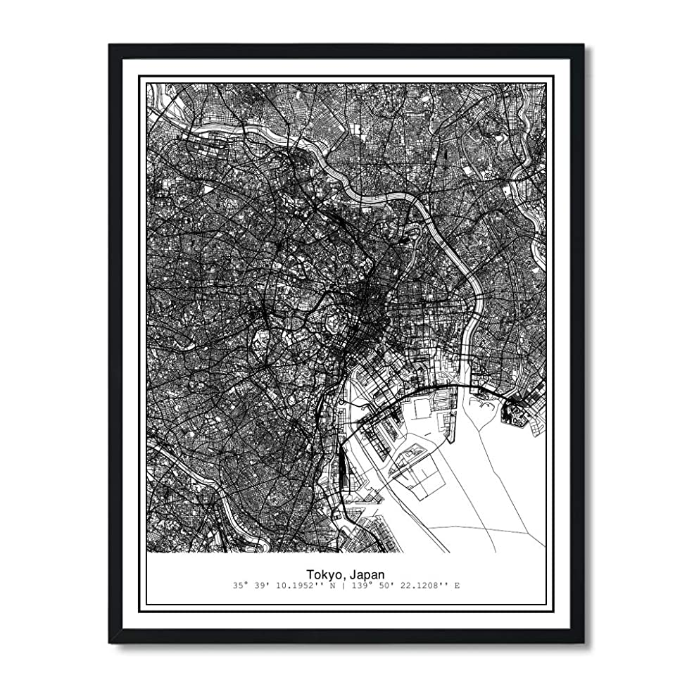 Susie Arts 11X14 Unframed Tokyo Japan Metropolitan City View Abstract Street Map Art Print Poster Wall Decor V237