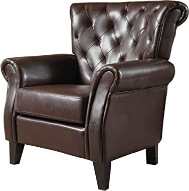 Christopher Knight Home Greggory Leather Club Chair, Hazelnut