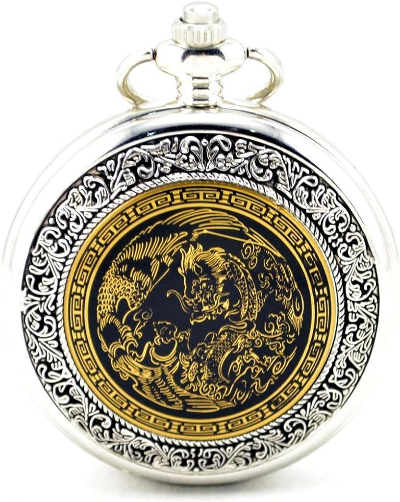 Infinite U Esqueleto Hueco Dragón/Fénix Colgante Collar Unisex Reloj de Bolsillo Mecánico