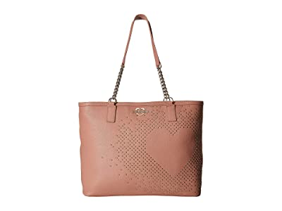 LOVE Moschino Studded Heart Tote (Pink) Tote Handbags