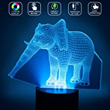 Elephant 3D Illusion Lamp LED Table Night Light YKL WORLD 7 Color Changing Touch Control with USB Cable Toys Bed Living Room Desk Decor Christmas Birthday Gifts for Kids Boys Girls