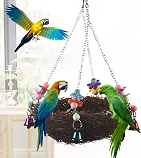 Hukai Natural Rattan Nest Bird Swing Toy With Bells Cage Perch Stand For Parrot Budgie Parakeet Cockatiel