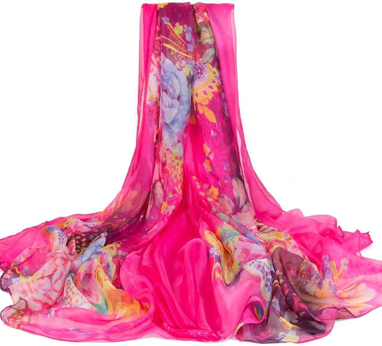 100% Silk Long Thin Scarf Silk Scarves Floral Printed Beach Shawl Women Genuine Natural Silk Scarf Shawl