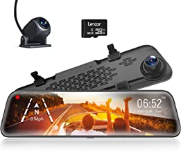 WOLFBOX 1296P HD 12 Pulgadas Dashcam Espejo retrovisor para automóvil, Delantero Trasero, Sensor Sony IMX415, visión Noctu...