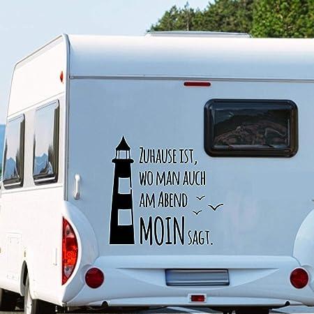Pegatina Promotion Zuhause Ist Wo Man Auch Am Abend Moin Sagt Typ1 Ca 90cm Hoch Spruch Leuchtturm Möwen Wohnmobil Wohnwagen Aufkleber Womi Wowa Auto