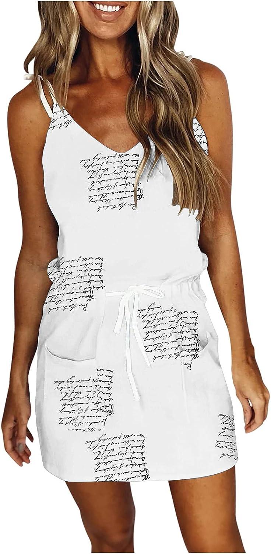 JPLZi Summer Dresses for Women Casual V Neck Sleeveless Spaghetti Dresses Fashion Print Sling Strap Mini Dress with Belt