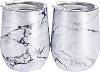 Skylety 12 oz Double-Insulated Stemless Glass, Stainless Steel Tumbler Cup with Lids for Wine, Coffee, Drinks, Champagne, Cocktails, 2 Pieces (Marbling)