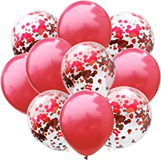 50 Pcs New Year Confetti Balloons Red and Red Sequins 12
