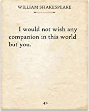Shakespeare - I Would Not Wish - 11x14 Unframed Typography Book Page Print - Great Gift Under $15 for Book Lovers