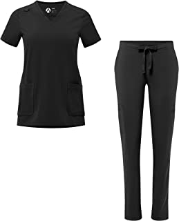 Adar Addition Scrub Set for Women - V-Neck Scrub Top & Skinny Cargo Scrub Pants
