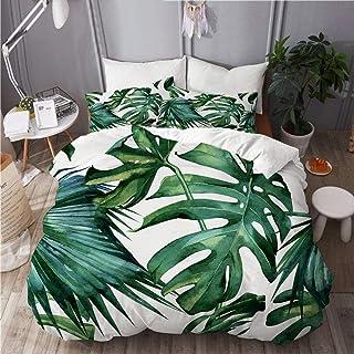 KIMDFACE Parure de lit,Conception Classique de Feuille de Palmier de Jungle de Monstre Tropical Vert,Housse de Couette en ...