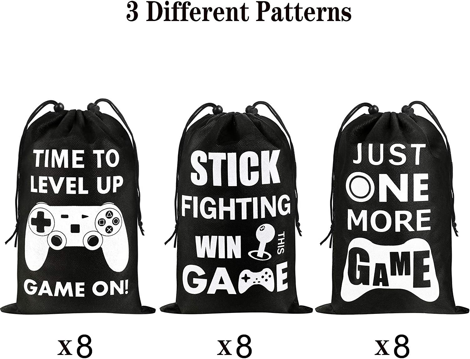 3-Patterns AhlsenL 24 Pack Video Game Party Supplies Gaming Party Bags Drawstring Bags Gaming Party Decorations for Kids Video Game Themed Birthday Party