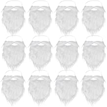 SUMERSHA 12 Pieces Fake Beards White Christmas Santa Beard Mustaches Costume Cosplay Party Supplies Funny Props
