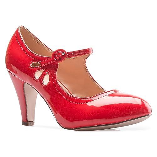 554e6d6e795 OLIVIA K Women s Kitten Heels Mary Jane Pumps - Adorable Vintage Shoes-  Unique Round Toe