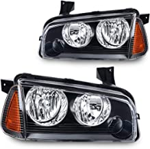 Headlight Assembly for 2006 2007 2008 2009 2010 Dodge Charger Black Housing Amber Reflector with Corner Signal Lights