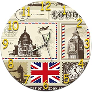 MQTDHT British Flag Clock for Wall,UK London Big Ben British Clock Retro Clock,11 Inch/28Cm Silent Luminous Wall Clock Battery Operated for Home Room Decor