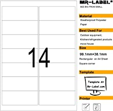 Mr-Label® Waterproof Removable Adhesive Labels - Tear-Resisitant stickers for Kitchen use | Mailing Label - Laser Printer Only (Size:99.1*38.1mm) (10 Sheets/ totally 140 Labels)