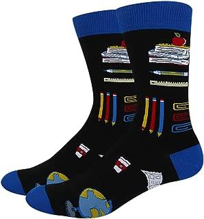 Men's Novelty Funny School Cotton Crew Socks, Crazy Teacher Book Nerd Math Socks