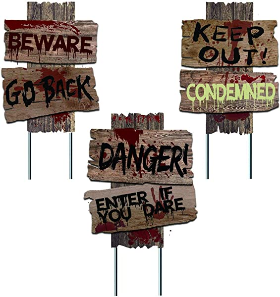 Liecho Pack Of 3 Halloween Decorations Yard Signs Stakes Beware Props Outdoor Decor Scary Zombie Vampire Graves Holiday Party Supplies Double Sided Printing 15x12 Inches
