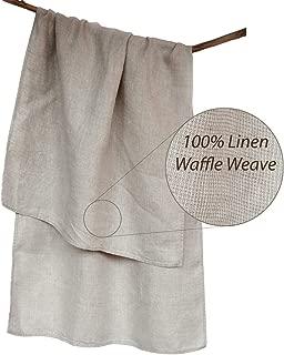 Handmade Washed Organic Bath Towel - Lightweight Thin Pure 100% Linen Flax 26.5x58 Inch Gray Natural Waffle Weave Quick Drying Shower Beach Body Hair Sauna Spa Bathroom Travel Gym Washcloth