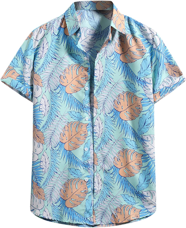 2021 Hawaiian Shirt for Men Summer Casual Fit T-Shirt Flower Leaf Beach Aloha Party Casual Holiday Short Sleeve